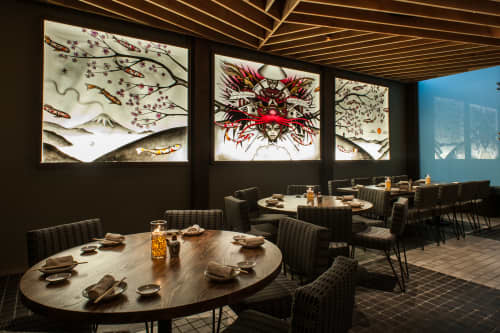 Murals by Hans Haveron seen at Roku Sunset, West Hollywood - Mural - Backlit Etched Glass