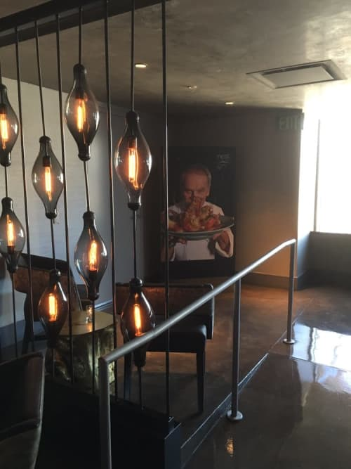 Lighting by ICRAVE seen at WP24 by Wolfgang Puck, Los Angeles - Custom Light Fixtures