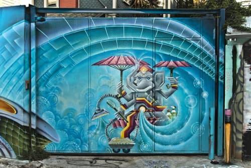 Street Murals by Xavi Panneton seen at Cypress Alley, SF, San Francisco - Cosmic Ganesha