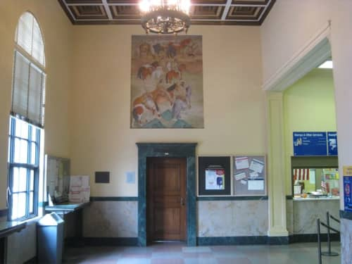 Murals by Helen Katharine Forbes seen at Merced Post Office, Merced, CA, Merced - Jedediah Smith Crossing the Merced River