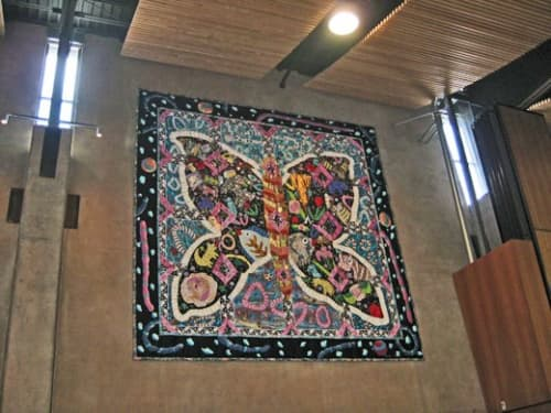 Animal Spiral and Butterfly | Wall Hangings by Therese May | Seven Trees Community Center and Library in San Jose