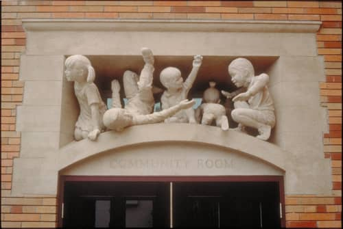 Sculptures by Scott Donahue seen at Taraval Police Station, San Francisco - Kate, Allen, Javier, Ting Ting, Sloanie