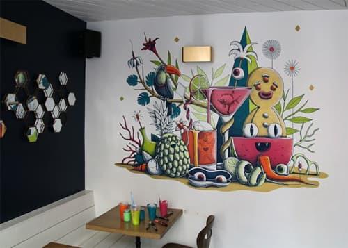 Murals by Nicolas Barrome seen at Les Justes - Pigalle, Paris - Tropical Cocktail