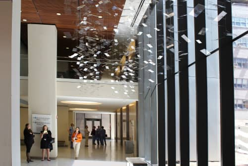 Sculptures by Tim Prentice seen at NYU Langone Medical Center, New York - Glissando