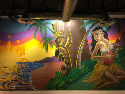 Murals by John Park seen at Fists of Fusion Island Grill,  Las Vegas, NV, Las Vegas - Hula Babae 2017