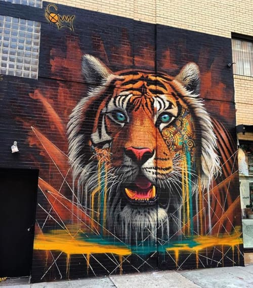 Street Murals by Sonny seen at Lafayette Street, SOHO, New York - Tiger Mural