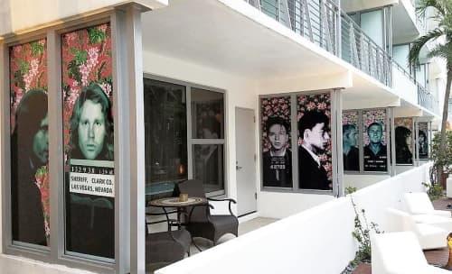 Mugshot Row   Wall Treatments by Elisabetta Fantone Art   National Hotel in Miami Beach