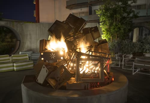 CRASH a fireplace sculpture | Sculptures by Charles Gadeken | Hotel Zephyr in San Francisco