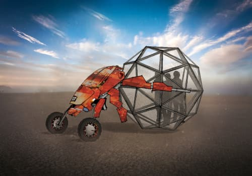 Sculptures by Brennan Steele seen at Burning Man 2017 - The Dung Bug