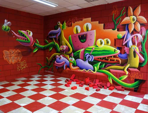 Murals by Nicolas Barrome seen at College Anatole-bailly, Orléans - Red room
