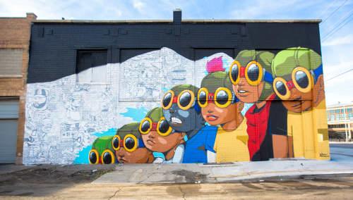 Street Murals by Hebru Brantley seen at Eastern Market, Detroit, Detroit - Flyboys