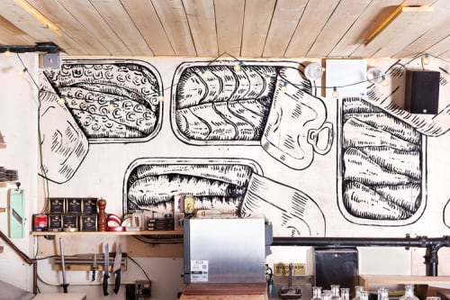 Murals by Massimo Mongiardo seen at Maiden Lane, New York - Seafood