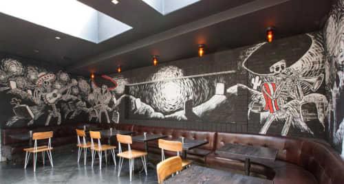 Murals by Carlos Nieto III seen at Mercado Los Angeles, Los Angeles - Mariachi Calavera Mural