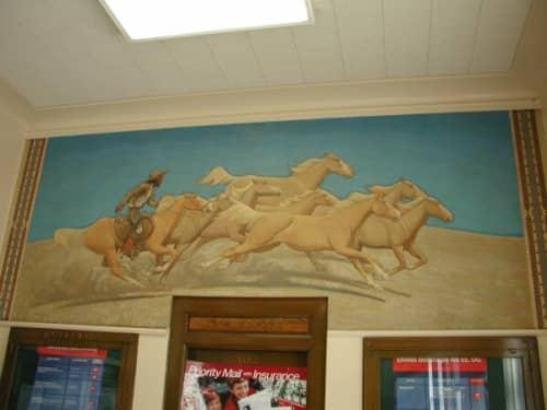 Street Murals by Maynard Dixon seen at Canoga Park, Los Angeles - Palomino Ponies
