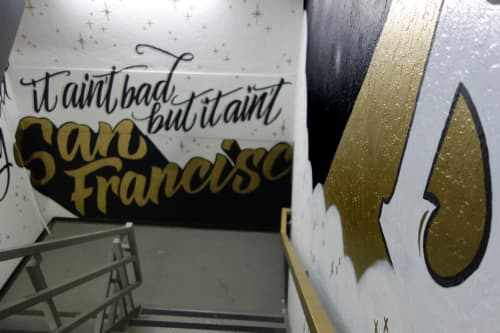 Murals by Dirty Bandits seen at Hotel Zetta, San Francisco - Mural Stairwell Street Art