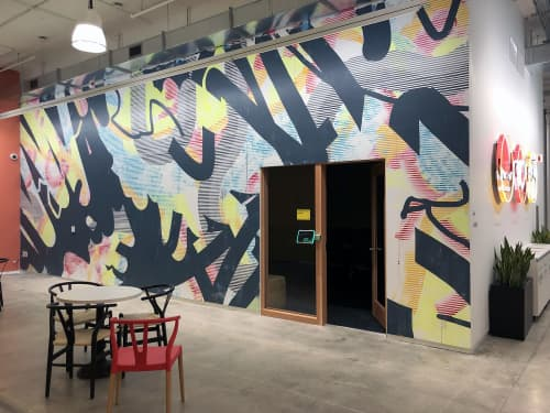 Murals by Ruth Freeman at Facebook, New York, Astor Place, New York - Infrared In Your Head