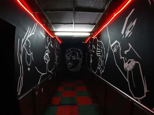 Tape Art Mural in AVA club | Murals by Fabifa | AVA CLUB in Berlin