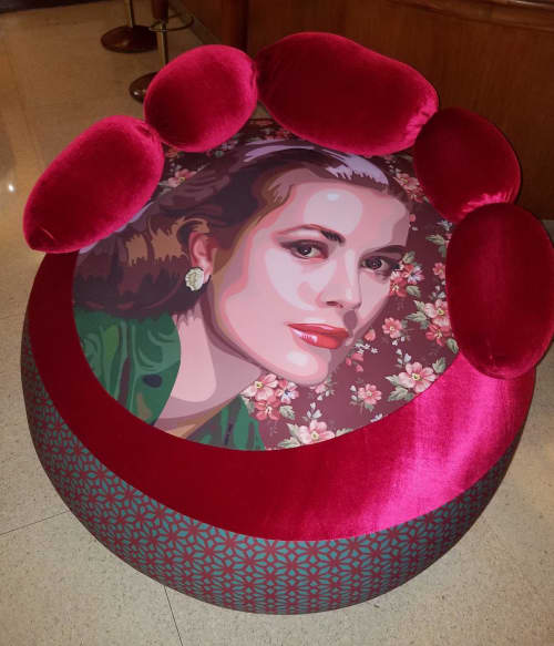 Grace Kelly ottoman   Benches & Ottomans by Elisabetta Fantone Art   National Hotel in Miami Beach