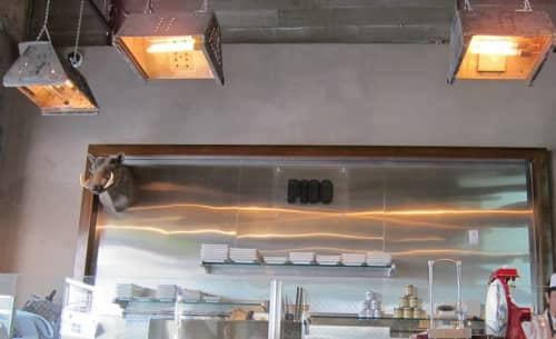 Bespoke Rustic Pendant Lights | Pendants by Afterglow Studio | Umami Burger in Los Angeles