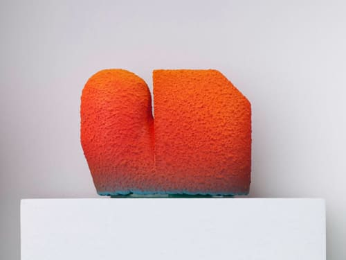 Sculptures by Ron Nagle seen at Mills College Art Museum, Oakland - Orange Tracy