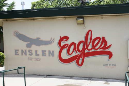 Murals by Fasm Creative seen at Enslen Elementary School, Modesto - Enslen Eagles