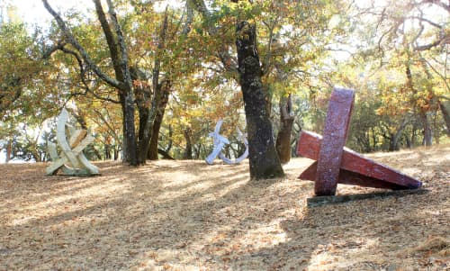 Blue Gate, Leaning Ring, and Two Arms Akimbo | Public Sculptures by Sam Perry | Runnymede Sculpture Farm in Woodside