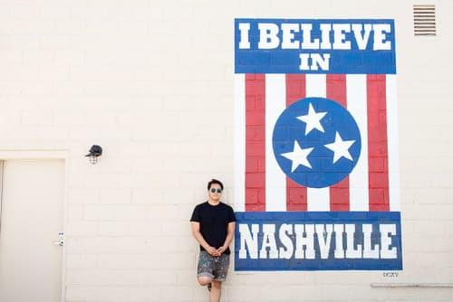 Street Murals by Adrien Saporiti seen at Nashville, Nashville - I Believe in Nashville mural