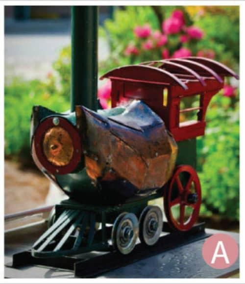 Shoo Shoe Train | Public Sculptures by Kyle Fokken - Artist LLC | Downtown Hopkins in Hopkins