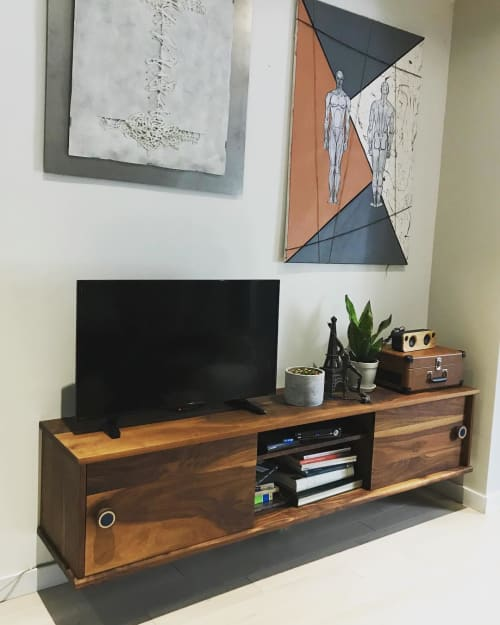 Furniture by SILVIE VARONE design & build seen at Private Residence, Ontario - Walnut Floating Credenza