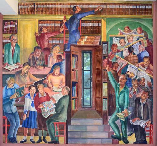 Murals by Bernard B. Zakheim seen at Coit Tower, San Francisco - Library