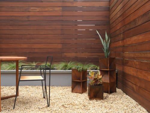 Origami Planter - Weathering Steel | Vases & Vessels by Trey Jones Studio | Private Residence - Brooklyn, NY in Brooklyn