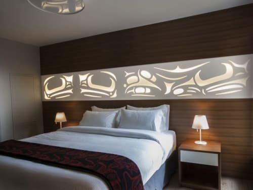 Frog Triptych Headboard | Sculptures by Sabina Hill | Skwachàys Lodge in Vancouver