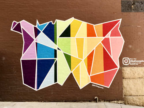 Murals by Adrien Saporiti seen at 21c Museum Hotel Nashville, Nashville - 'I & I' Mural