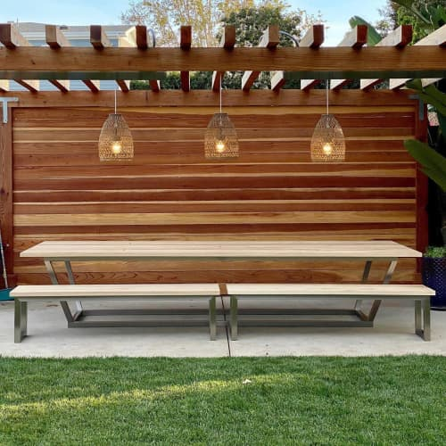Outdoor Table and Bench with Brushed Steel Base | Tables by Angel City Woodshop