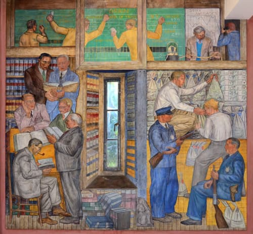 Murals by George Albert Harris seen at Coit Tower, San Francisco - Banking and Law