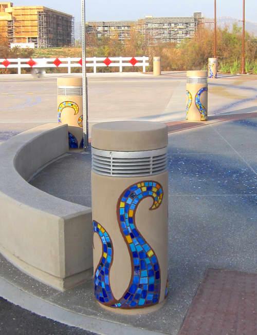 Mosaic Wave Bollards   Public Mosaics by Rachel Rodi   Town Center Parkway, Santee, CA in Santee