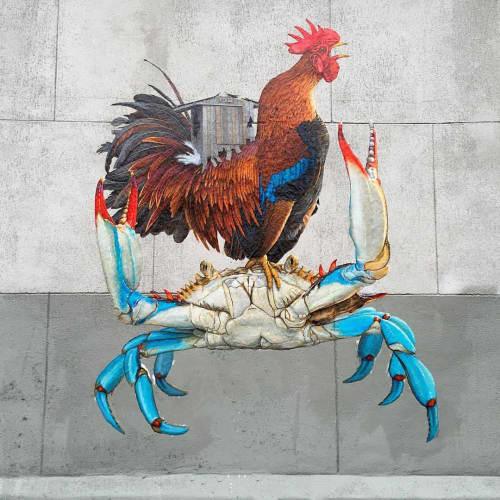 In The House Of The Rooster And The Crab | Street Murals by Criminy Johnson (QRST) | Bushwick, Brooklyn in Brooklyn