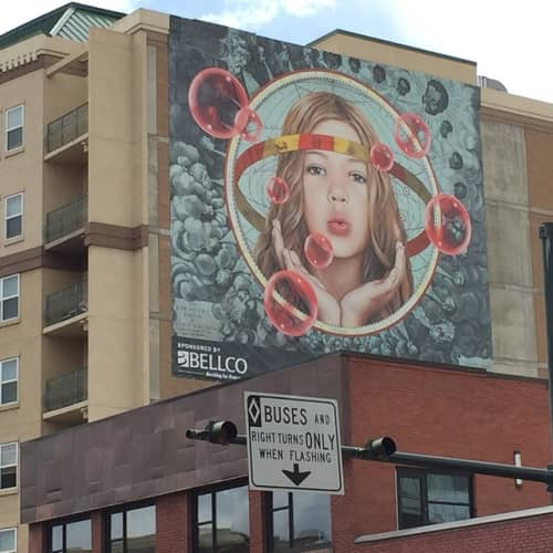Street Murals by Mark Penner-Howell seen at W 12th Ave & Broadway, Denver - Map of the Winds
