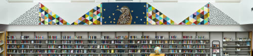 Murals by Carrie Marill at Palomino Library, Scottsdale - Cactus Wren - Library Mural