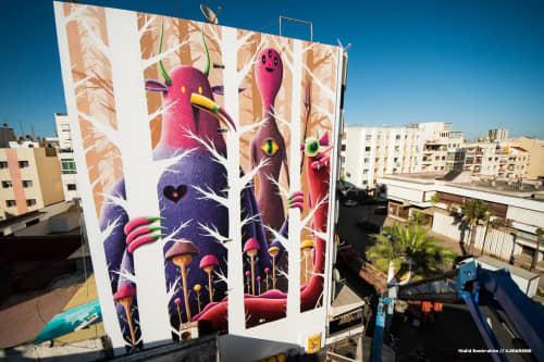 Street Murals by Nicolas Barrome seen at Rabat, Rabat - Creatures from Chiberta for the Jidar Festival 2016