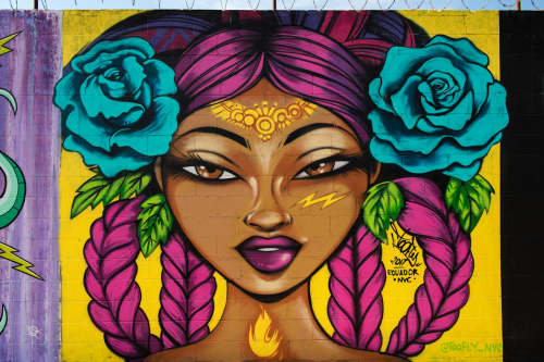 Murals by TooFly seen at Welling Court Mural Project, Queens - Lady Mural