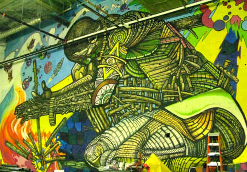 Street Murals by Don Rimx seen at 5 Bryant Park, New York - Friction