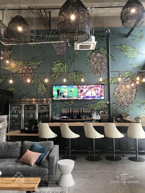 Restaurant Hand painted Mural | Murals by Sean Martorana | Hops Brewerytown in Philadelphia
