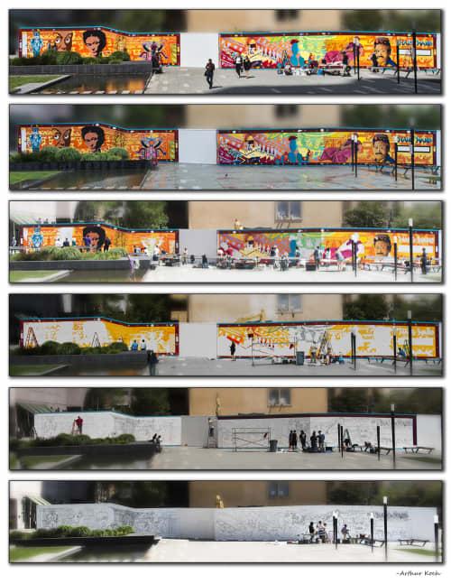 Street Murals by Arthur Koch seen at 706 Mission St SF, CA 94103, San Francisco - Mano a Mano