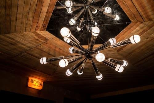 Chandeliers by Houston Hospitality seen at Break Room 86, Los Angeles - Custom Microphone Chandeliers Light Fixtures