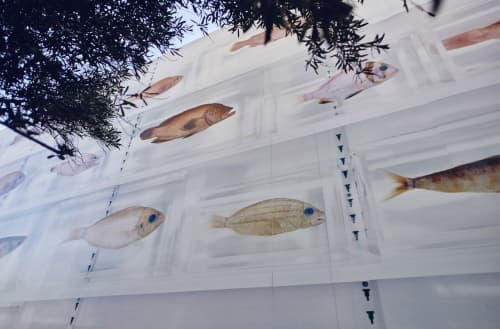 Murals by Damien Hirst seen at Otium, Los Angeles - Isolated Elements