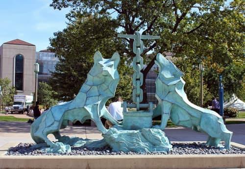 Sculptures by Pancho Cardenas (Francisco Cárdenas Martínez) seen at University of San Francisco, San Francisco - Los Lobos de Loyola
