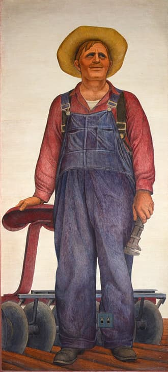 Murals by Clifford Wight seen at Coit Tower, San Francisco - Farmer