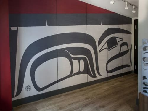 Longhouse Wall Mural   Murals by Sabina Hill   Skwachàys Lodge in Vancouver