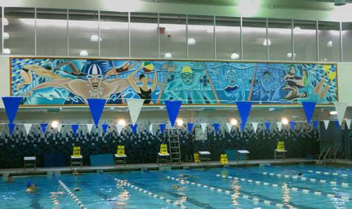 Murals by Arnie Charnick seen at McBurney YMCA, New York - Swimural